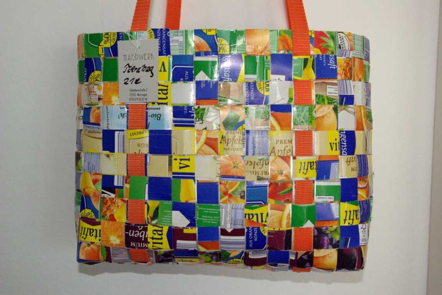 Upcycling Tetrapak, Tetrapaktasche, Upcycling Flechttasche, Tetrapak Flechttasche, Handgemachte Flechttasche, Unikat, Upcycling Tasche