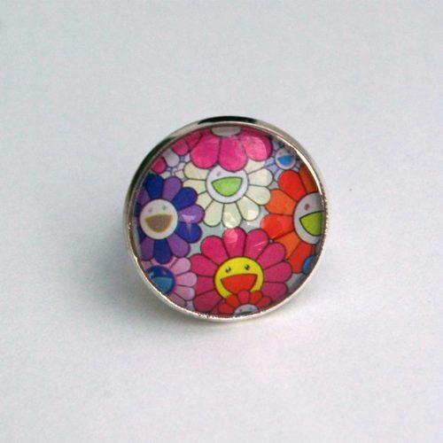 Upcycling Ring mit Kunstdruck, Comic - Blüte, Comic-Ring, Naive Kunst, Cabochon Ring