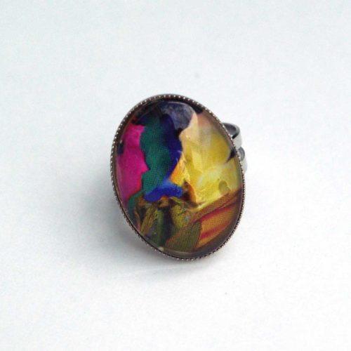 Upcycling Ring, Cabochon, ovaler Ring, Kunstdruckgrafik, Gipsyschmuck, Bohoschmuck, Hippiering, Street Chic, Statement Ring