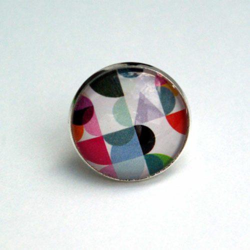 Upcycling Ring, Cabochon, Grafik, pastell, Boho, Hippie, Street Chic, Statement Ring
