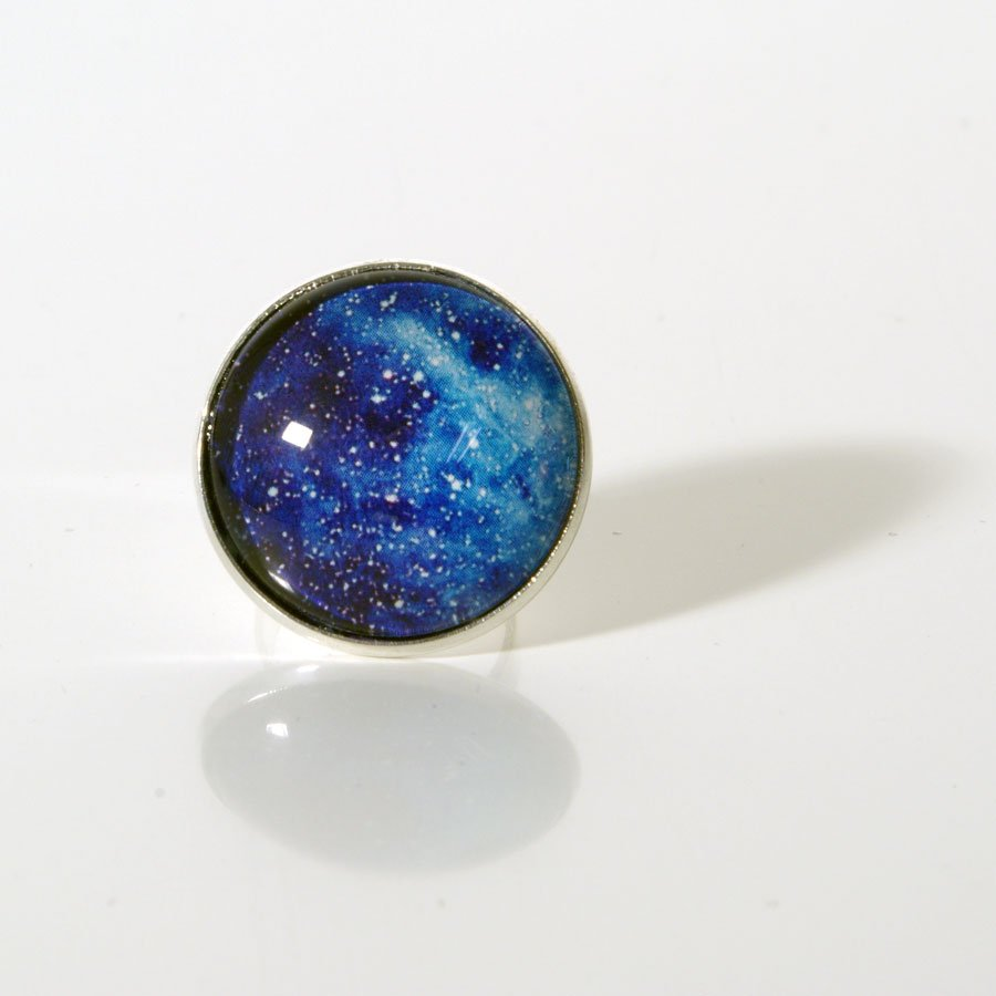 Upcycling Ring, Rund, Cabochons, Weltall, Space, Galaxie, Weltraum, All, Sterne, Druckgrafik, Handmade, Hippie, Gipsy, Boho, Street Chic, Statement Ring