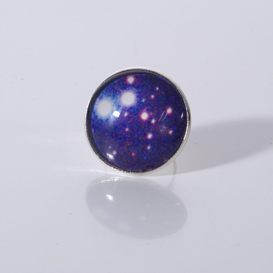 Upcycling Ring, Cabochon, Universum, Galaxie, Schmuck, Statement Ring, Boho, Gipsy, Ring blau