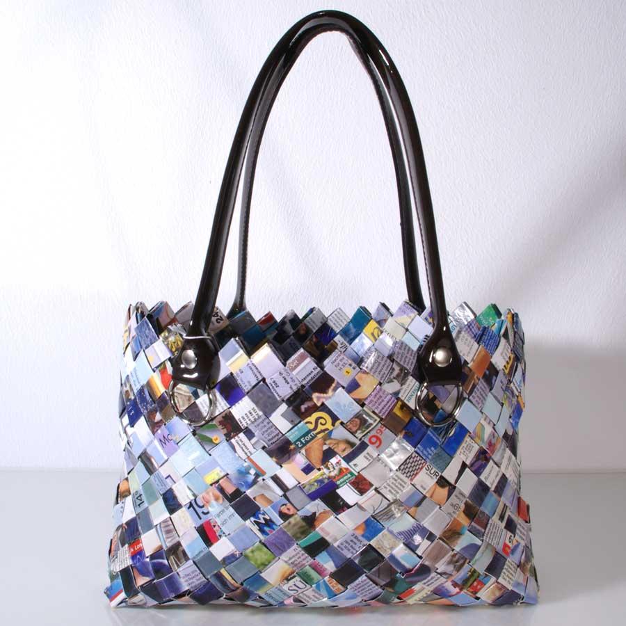 Upcycling Tasche, Flechttasche, Tasche aus Papierstreifen, Upcycling Flechttasche, blaue Flechttasche, Unikat, Handgemacht, Recyclingtasche, Nachthaltige Tasche