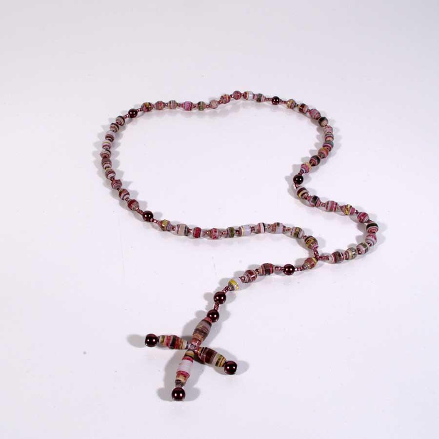Religiöses Geschenk, Rosenkranz, Upcycling Rosenkranz, Rosenkranz aus Papierperlen, Geschenk zur Erstkommunion