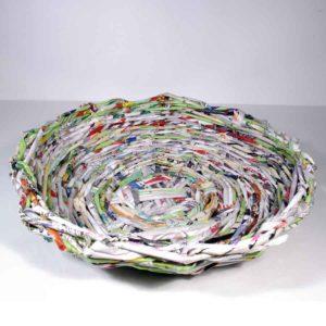Papierkorb rund, flach, Upcycling Papierkorb, runder Korb, Handgeflochten, Korb Handarbeit, Korb aus Papier
